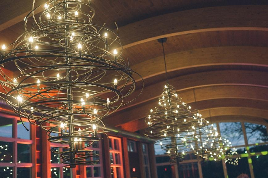 Custom lighting featuring twisting metal and LEDs